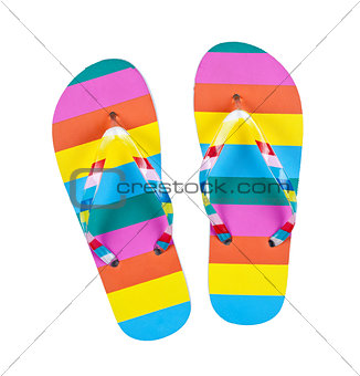 Colourful flip flops isolated on white
