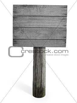 Grunge empty wooden signboard isolated on white background