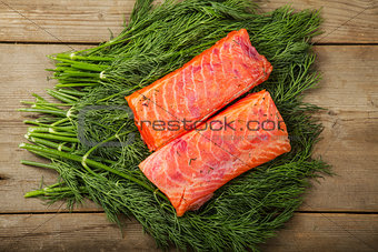 Gravad lax on the greenery