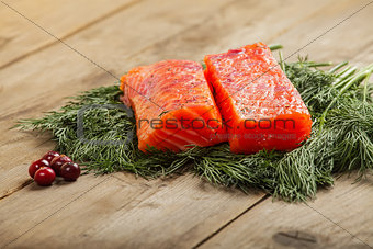 Salty salmon with cranberry