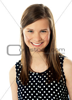 Closeup of cute teenager smiling