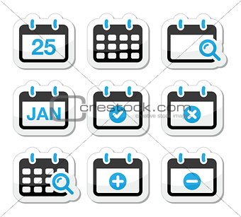 Calendar date vector icons set