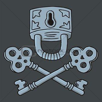 Jolly Roger padlock with keys