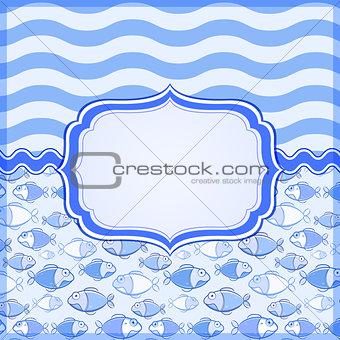Blue Card with Elegant Label Frame