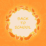 Back to School Oranhe Round Leaf Card.