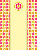 Yellow Pink Retro Card with Leaf Flower Pattern and Vertical Label