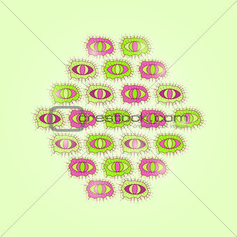 Green Card with Rhombus of Cartoon Eyes