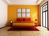 Red and orange contemporary bedroom