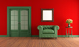 Red and green vintage room