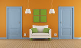 colorful interior  doors and armchair