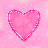 Pink Ruffled Heart on Light Shiny Background
