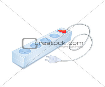 Power Strip Icon with Cord and Plug