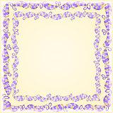 Purple Leaf Frame on Yellow Background