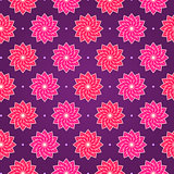 Pink Round Flower on Dark Violet Seamless Pattern