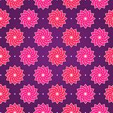 Pink Round Flower on Dark Violet Seamless Pattern