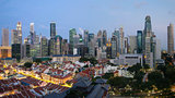 Singapore Skyline Along Chinatown Evening
