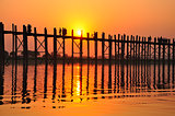 U Bein bridge in sunset