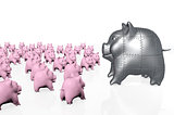 a big armored pig piggy bank