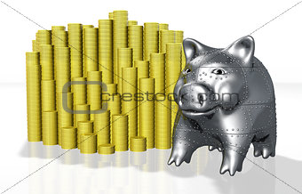 an armored pig piggy protects his money