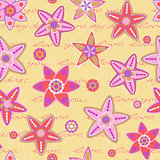 Seamless Pattern with Flowers and Hand Writing Text