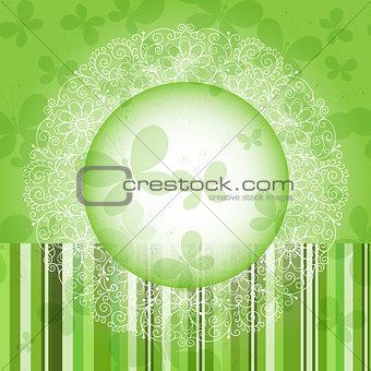 Green spring round floral frame