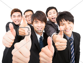 success business team with thumbs up