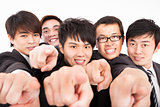 success business group finger pointing to camera