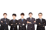 five asian business man standing together