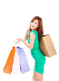 happy young asian woman holding shopping bag