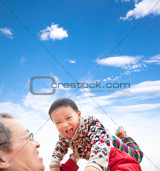 happy asian kid play with father