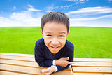 close up of smiling asian boy