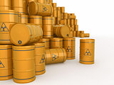 A barrels of radioactive waste. 3d