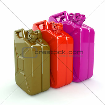 Three Jerrycan. Fuel can on white background.
