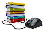 Internet education. Books and computer mouse.