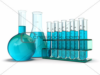 cientific research. Glass test tubes with reagent