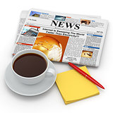 Busines morning concept. Coffee cup,  newspaper and reminder