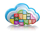 Cloud computing. Application icons. 3d