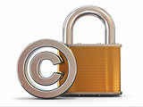 Sign of copyright with padlock. 3d