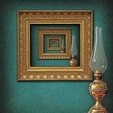 surrealistic frames and oil lamp