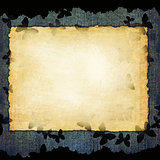 Blank paper sheet on denim grunge background with butterflies