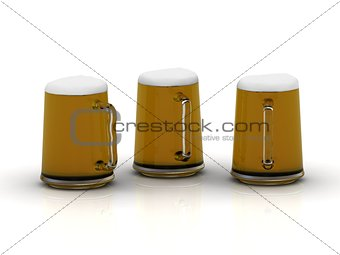 Three glass cups with a delicious dark beer