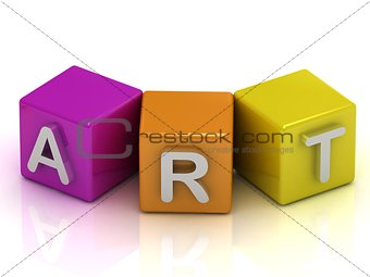 Art text on cubes