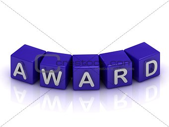 Award of text in blue cubes