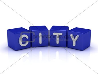 CITY word on blue cubes