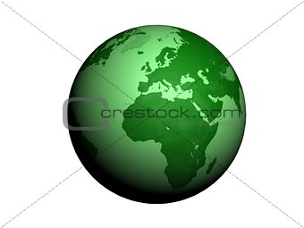 Green Earth globe 3d render