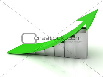 3D Illustration of the Business growth with green arrow