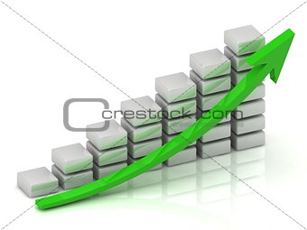 Business growth chart of the white blocks