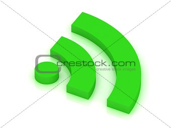 green RSS symbol Isolated on white