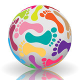 Footprint on the ball