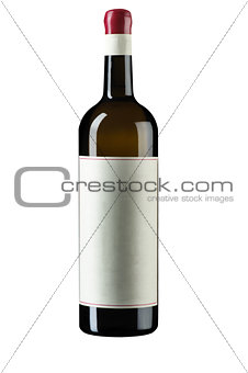 unopened isolated on white wine bottle